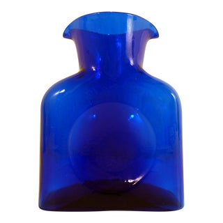 Vintage Blenko Cobalt Blue Carafe Decanter Vase For Sale