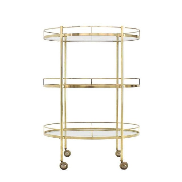 Three-Tier Brass Oval Tea Serving Cart For Sale - Image 4 of 8