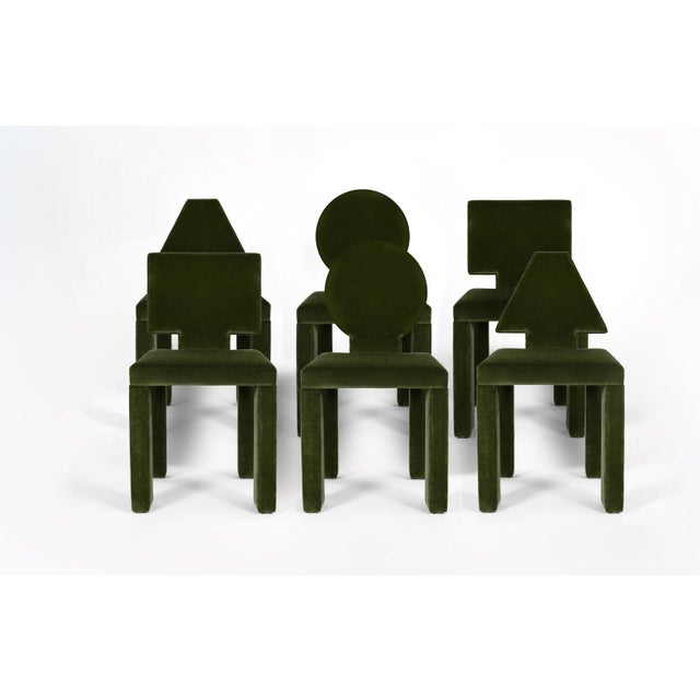 Contemporary Dining Chairs in Moss Cotton Velvet - Set of 6 For Sale In Dallas - Image 6 of 6