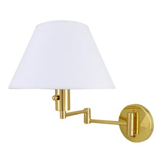 Phoenix Day Polished Brass Swing Arm Sconce With Linen Shade For Sale