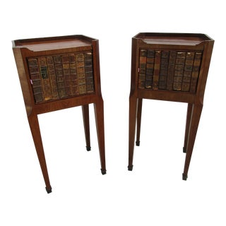 French Leather and Inlay Faux-Book Front Nightstands -A Pair For Sale