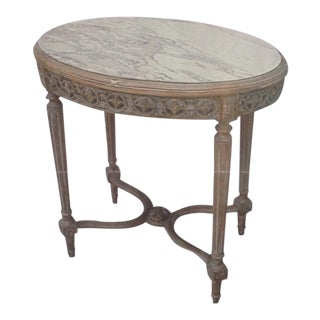 Late 19th Century French Giltwood and Marble Oval Accent Table For Sale