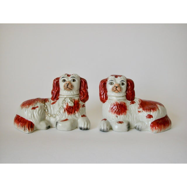 Vintage Mid-Century Staffordshire Style Spaniel Figurines - A Pair For Sale - Image 10 of 10