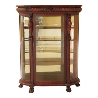 19th Century Victorian Oak Bow Front China Cabinet For Sale
