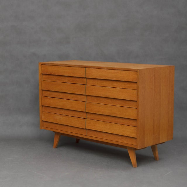 1960s Mid-Century Modern Jiri Jiroutek for Interier Praha 8-Drawers Oak Chest For Sale - Image 4 of 9
