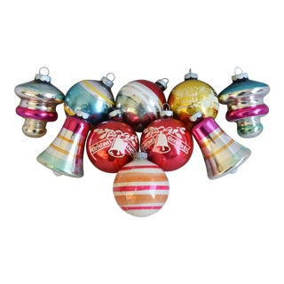 Vintage Midcentury Christmas Ornaments W/Box - Set of 10 For Sale