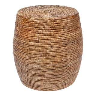 Wovan Rattan Drum Stool / Side Table For Sale