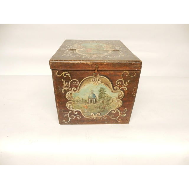 Wood 19th Century Italian Painted Scenes on Herb Box For Sale - Image 7 of 7
