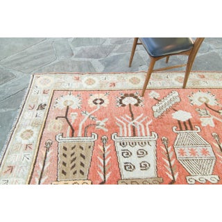 House of Séance - 1920s Vintage Pictorial Khotan Samarkand Floral Vases Wool Hand-Knotted Rug - 4′4″ × 7′2″ Preview