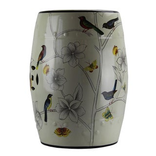 Modern Pasargad DC Contemporary Floral Porcelain Garden Stool For Sale