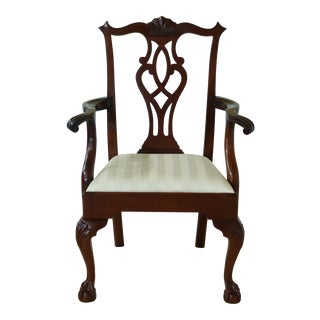 Stickley Ball & Claw Mahogany Chippendale Arm Chair For Sale