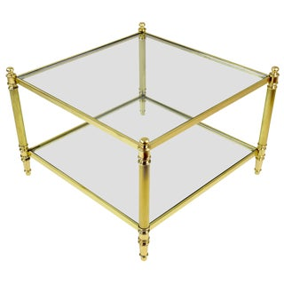 20th Century French Brass Coffee Table, 1970s For Sale