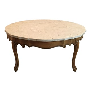 Hekman Queen Anne Scalloped Marble Top Oak Coffee Table For Sale