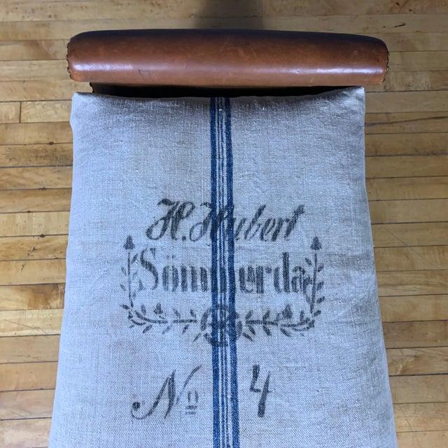 Metal 1930s Otto Schulz Leather & Grainsack Footstool, Boet, Sweden For Sale - Image 7 of 11