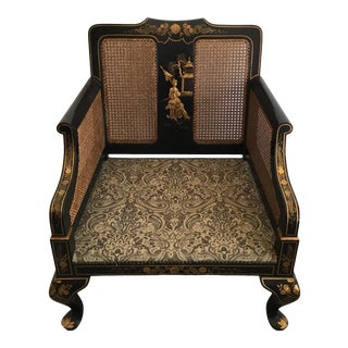 Chinoiserie Berger Chair With Cane Back and Hand Painted Gold Chinoiserie For Sale