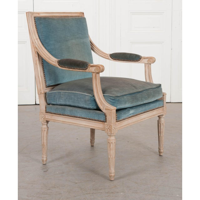 19th Century 19th Century French Louis XVI Style Painted Fauteuil Chair For Sale - Image 5 of 12