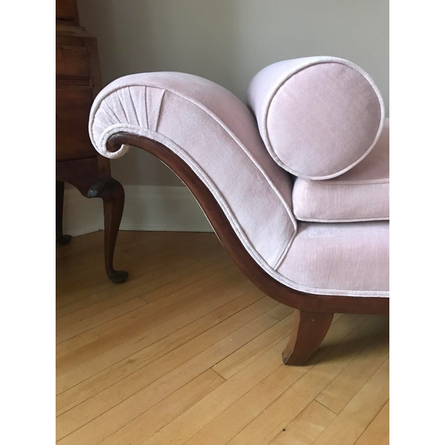 Antique Pink Velvet Chaise - Image 3 of 6