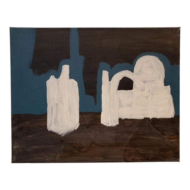 Contemporary Painting of Desert Ruins at Night by Artist Lionel Lamy For Sale