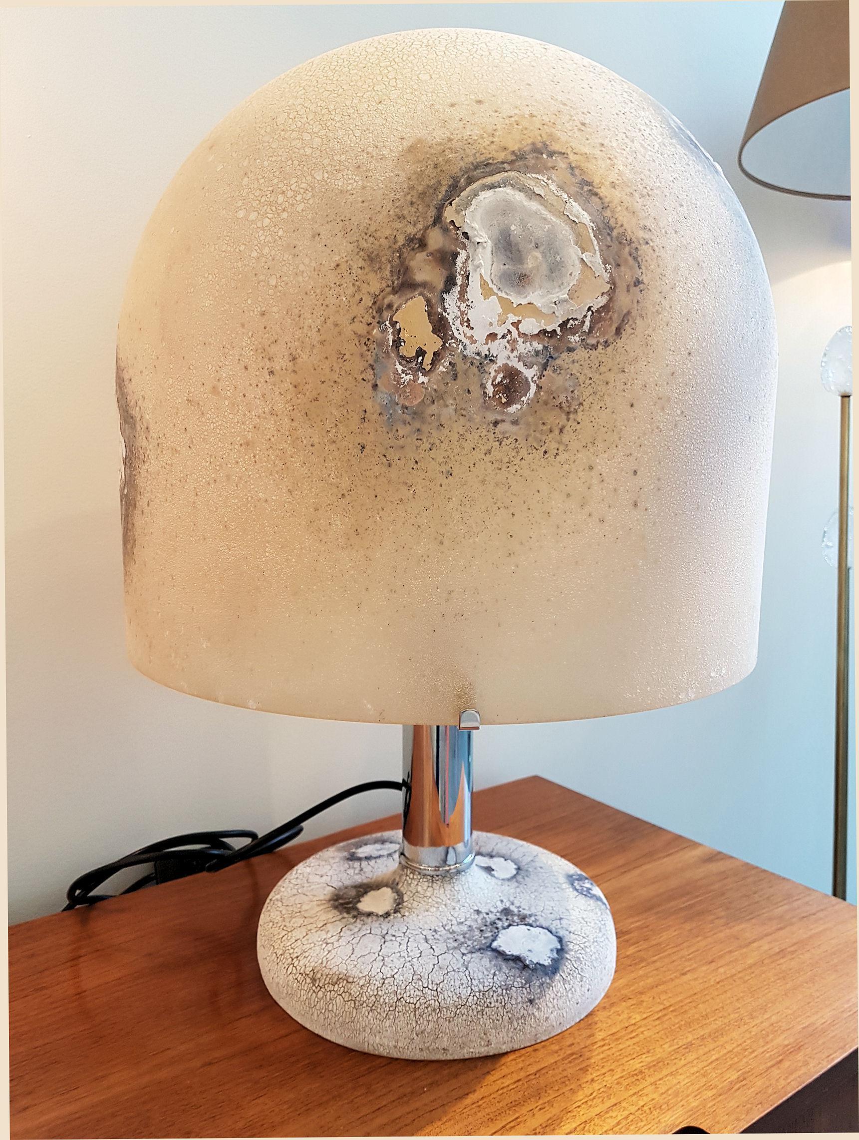 Pair Of Alfredo Barbini Murano Glass Mid Century Modern Lamps   Image 4 Of  12