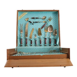 Mid-Century Brass & Wood Serving Set - Set of 110 For Sale
