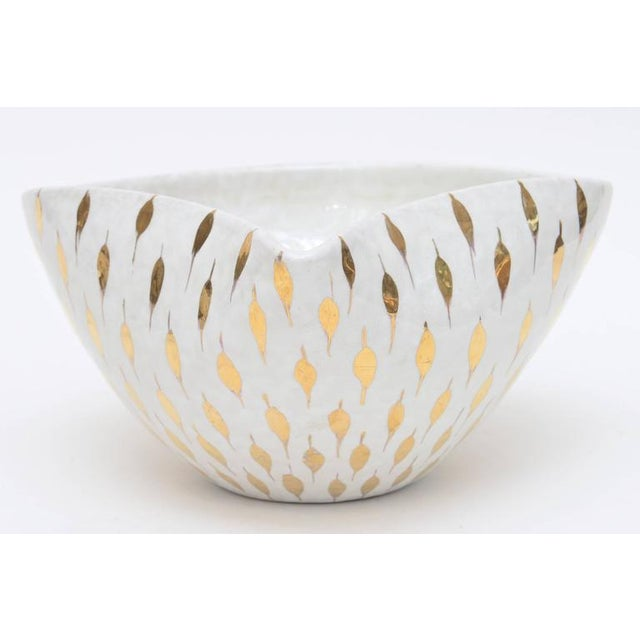 Aldo Londi for Bitossi Gold Painted White Ceramic Bowl Vintage For Sale In Miami - Image 6 of 11