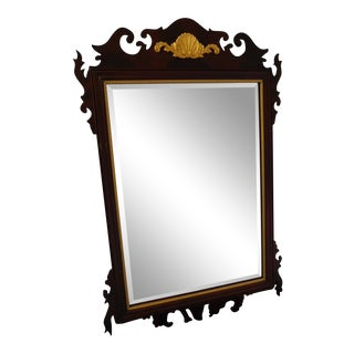 "Councill Craftsmen Flame Mahogany Federal Style Gold Gilt Accented Mirror 47.5""h For Sale"