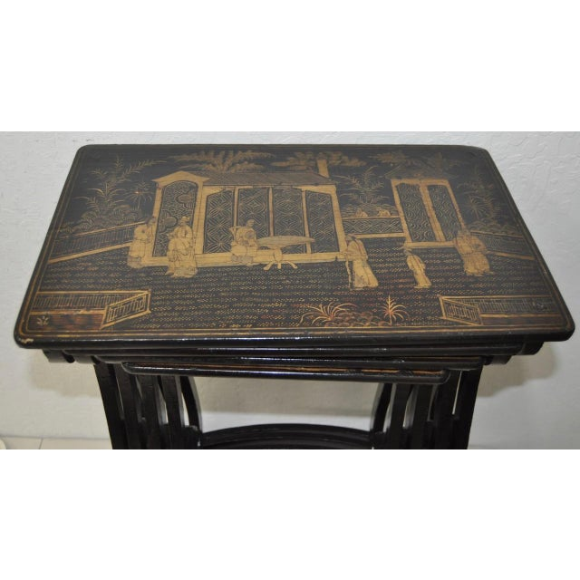 Lacquer 19th Century Chinoiserie Black Lacquered & Gold Nesting Tables - Set of 4 For Sale - Image 7 of 10