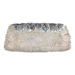 Modern Arthur Court Style Aluminum Serving Tray with Fish Theme For Sale