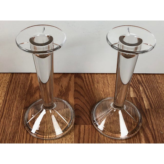 Minimalist Solid Clear Glass Candle Holders - A Pair For Sale - Image 4 of 7