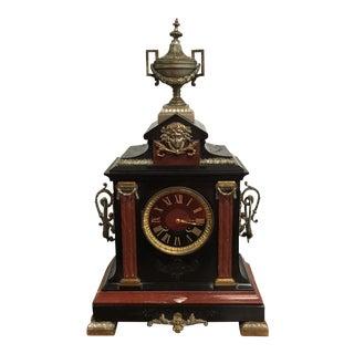 Monumental French Napoleon III Antique Clock Marble Circa 1890s