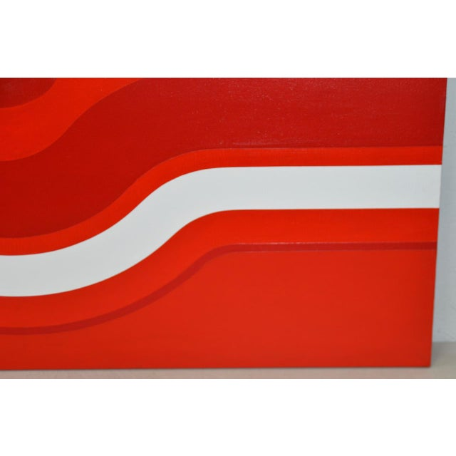 Vintage Red & White Op Art Painting by Charles Hersey c.1970s Charles Hersey was a gifted San Francisco artist in the...