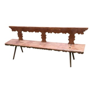 Antique Belgium Hand Carved Painted Bench