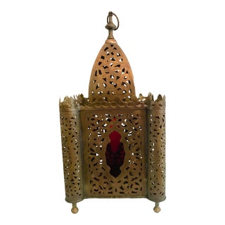 1960s Vintage Brass & Red Glass Large Moroccan Lantern For Sale