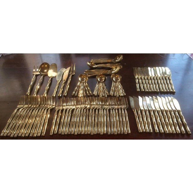 Vintage Mid-Century Gold-Plated Bamboo Pattern Flatware Set - 100 Pieces For Sale - Image 11 of 11