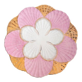 1940s Pink and Gold Scalloped Edge Shell Plate For Sale