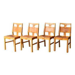 Custom A. Brandt Leather Dining Chairs C.1940 - Set of 4 For Sale