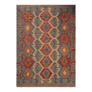 Kilim Arya Freya Gray/Blue Wool Rug -3'5 X 4'11