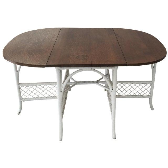Wicker & Oak Drop-Leaf Dining Table For Sale