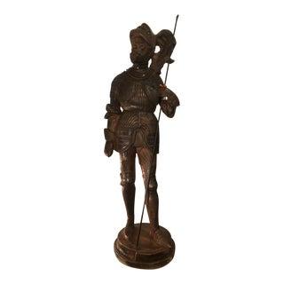 Huge Antique Terracotta Sculpture of a Conquistador - Bois Guilbert For Sale