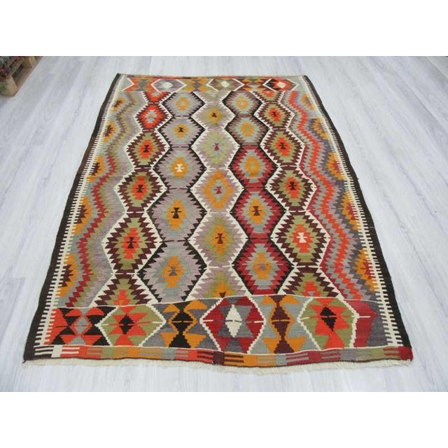 "Islamic Handwoven Vintage Decorative Colourful Turkish Kilim Area Rug - 5'4"" x 7'5"" For Sale - Image 3 of 6"