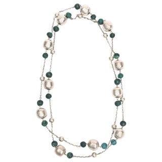 Sterling Silver and Malachite Beaded Chain Strand Necklace For Sale