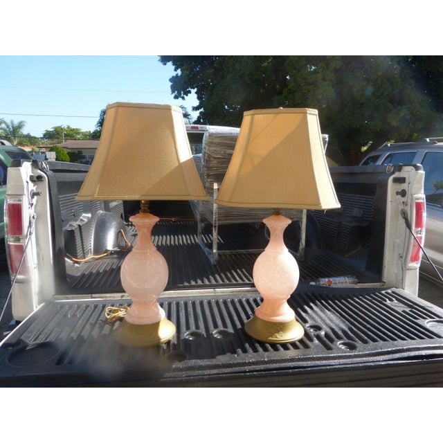 Pink 1960s Mid Century Modern Pink Flake Murano Art Glass Lamps - a Pair For Sale - Image 8 of 9