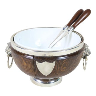 19th Century English Silver and Oak Salad Set For Sale