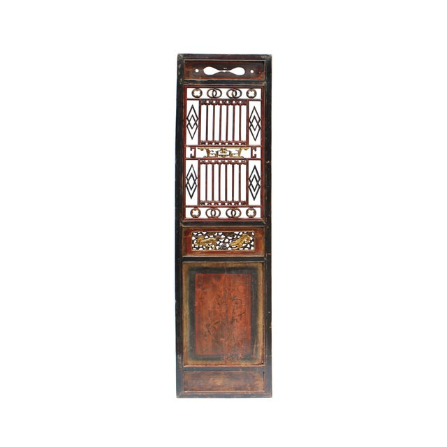 Wood Chinese Gold Red Brown Graphic Carving Wood Decor Panel For Sale - Image 7 of 7