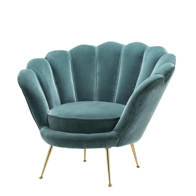 Modern Trapezium Turquoise Shell Shaped Chair For Sale
