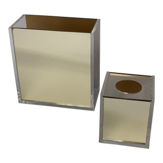 Vintage Lucite and Gold Mirrored Wastebasket and Tissue Box For Sale