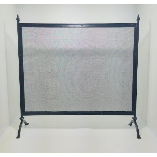 Black Antique Farmhouse Style Wrought Iron Fireplace Screen For Sale - Image 8 of 8