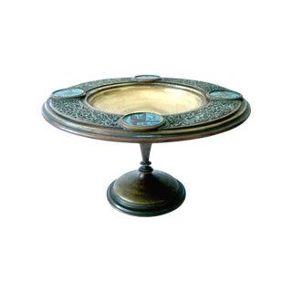 Antique Persian Brass & Blue Bird Enamel Tazza Center Bowl For Sale