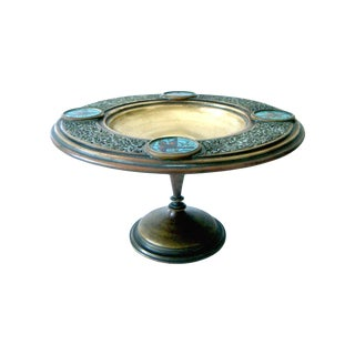 Antique Persian Brass & Enamel Blue Birds Cloisonné Tazza / Centre Bowl For Sale