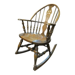 1930s Antique Windsor Walnut Rocking Chair For Sale